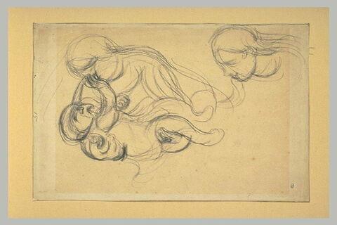 Femme caressant un enfant, et tête