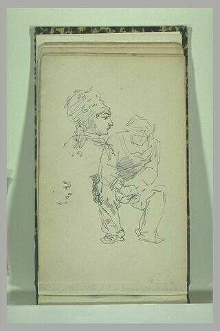 Un homme assis ; deux visages, vus de profil