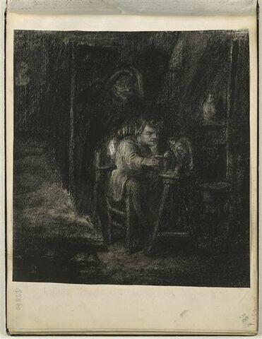 Dans un chambre en soupente, homme assis devant une chouette