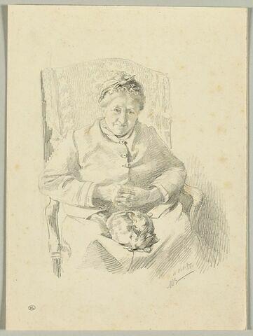 Vieille dame assise sur un fauteuil, de face, un chat sur les genoux