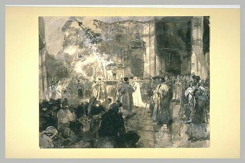 Procession dans une église avec un prêtre portant une relique sous un dais