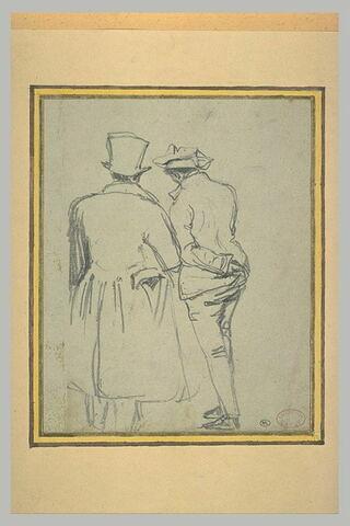 Deux hommes debout, dont un coiffé d'un chapeau haut-de-forme, conversant