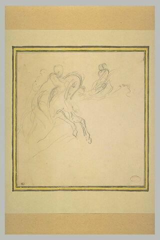 Cavalier galopant vers la droite et deux figures