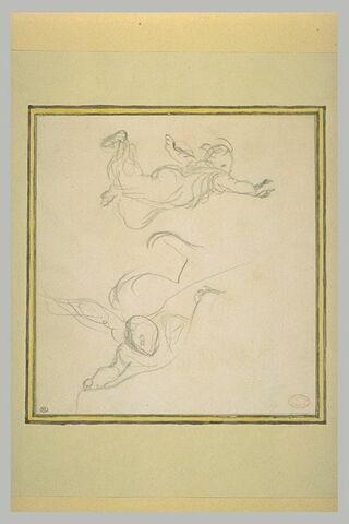 Femme volant dans les airs, les bras écartés, et homme vu en raccourci