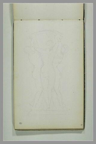 Trois figures féminines nues supportant une vasque : les trois Grâces