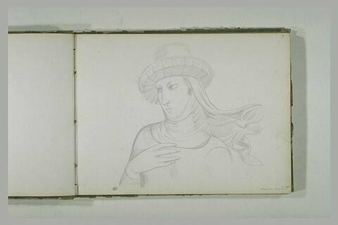 Buste de femme, portant un chapeau, tournée vers la gauche