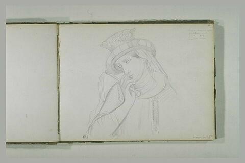 Buste de femme portant un chapeau, de trois quarts vers la gauche