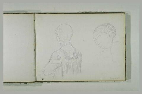 Femme drapée, vue en buste, de dos ; tête de femme, de trois-quarts vers la gauche