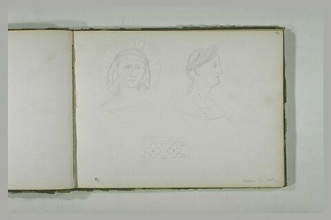 Tête de sainte ; tête de femme de profil vers la droite ; motifs de frise