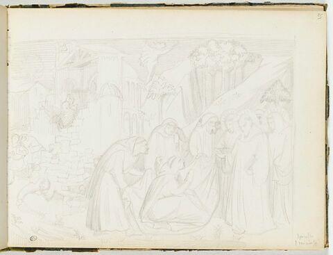Saint Dominique ressuscitant un moine mort pour l'écroulement d'un mur pendant la construction de l'abbaye de Monte Cassino