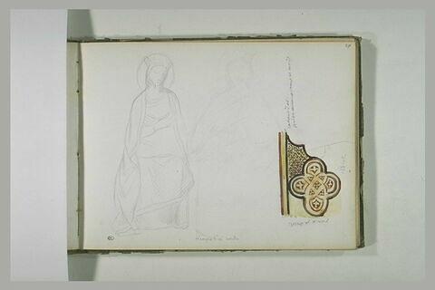 Vierge assise, couronnée ; motif décoratif