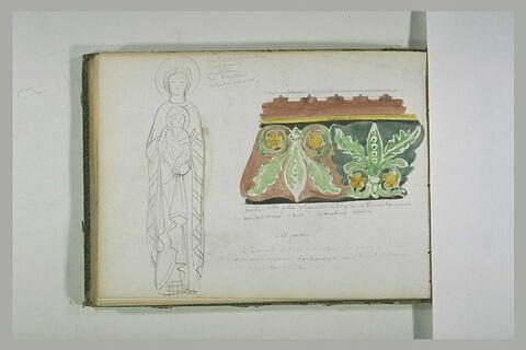 Vierge à l'Enfant et frise décorative