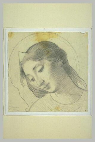 Tête de femme, penchée vers la gauche, auréolée