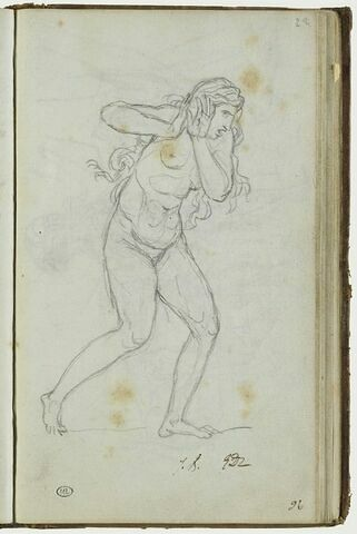 Etude d'une femme, nue, fuyant