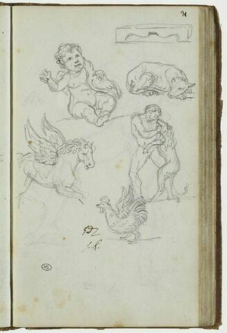 Etudes de nain, d'animaux, d'homme se battant avec un chien, et cheval ailé
