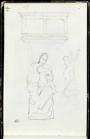 Elément de décor ; Vierge à l'Enfant ; statue d'une femme