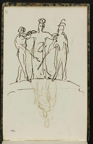 Trois personnages se tenant par l'épaule