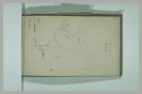 Plan ; sculpture d'une figure allongée ; annotation chiffrée