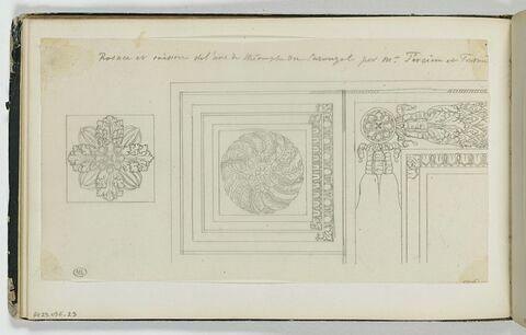 Rosace et caisson relevé de l'Arc du Carrousel