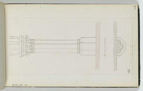 Vue en plan et en coupe d'une colonne de l'église d'Arcueil