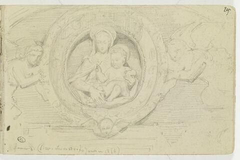 Anges portant un médaillon avec la Vierge et l'Enfant