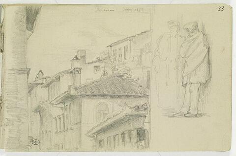 Maison à Florence ; deux figures