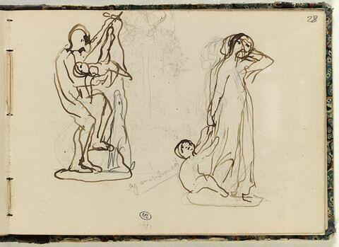 Figure portant un enfant mort ; Agar et Ismaël