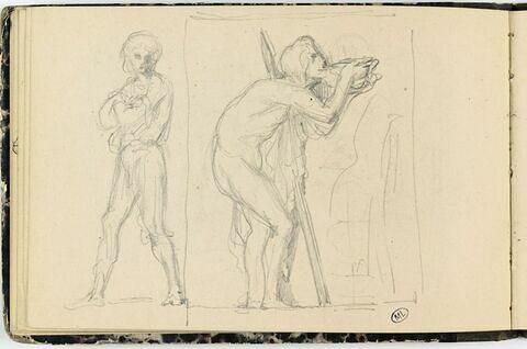 Homme debout ; homme buvant, d'après l'antique
