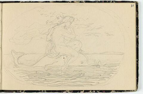 Arion jouant de la lyre, assis sur un dauphin
