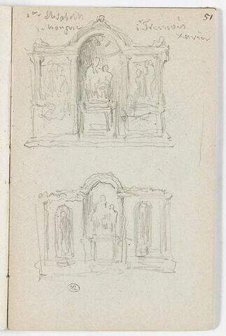 Deux études d'un monument sculpté, avec une niche centrale