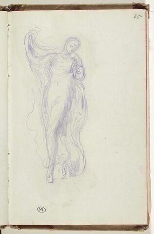 Figure drapée,  dansant avec un voile