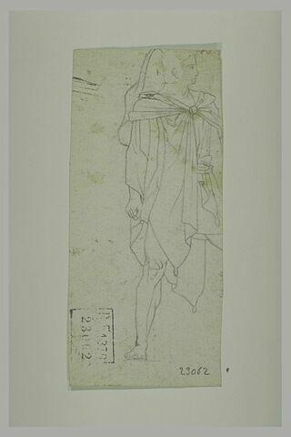 Ephèbe en manteau de profil à droite