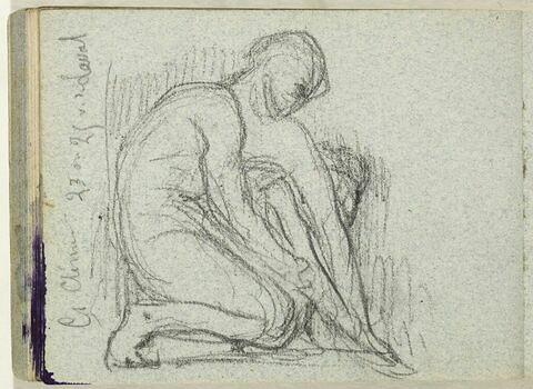 Homme nu, au sol, un genou replié sur la poitrine