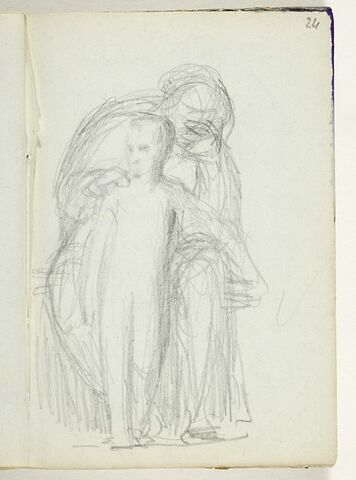 Figure drapée assise tenant un enfant par l'épaule