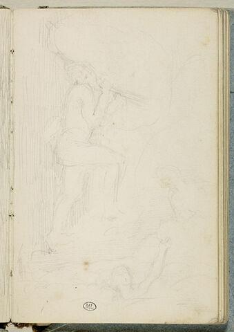 Esquisse de trois figures, sur un fond hachuré