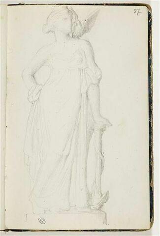 Femme drapée, une colombe sur l'épaule