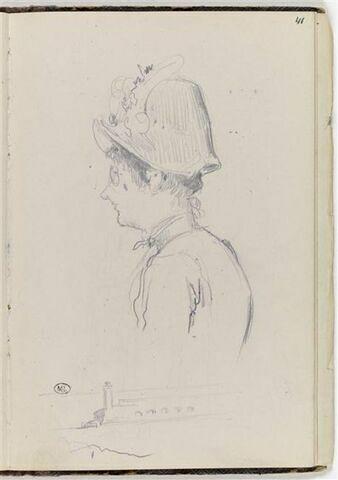 Buste de femme portant un chapeau, vu de profil à gauche, et petit paysage