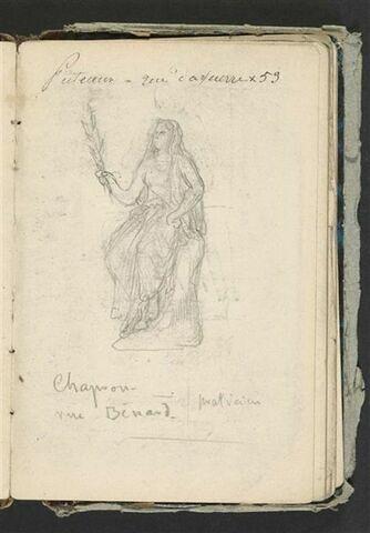 Femme assise tenant une palme ; notes manuscrites