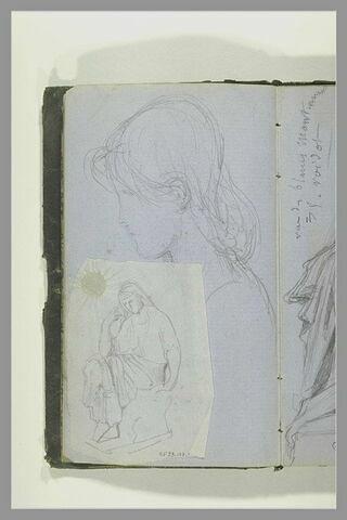 Portrait de jeune fille, en buste, de profil