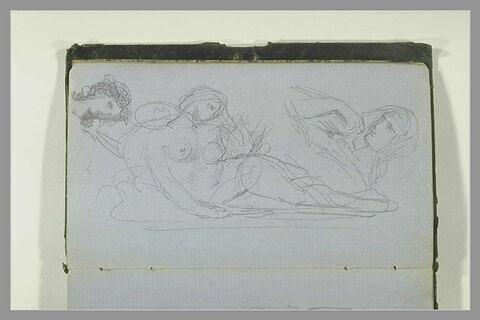 Femme voilée, en buste ; femme nue allongée ; tête de femme