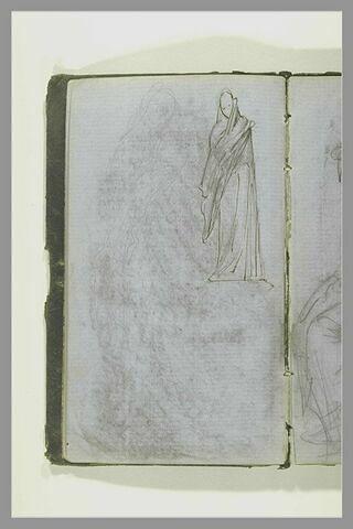 Figure, debout, drapée ; esquisse d'une figure