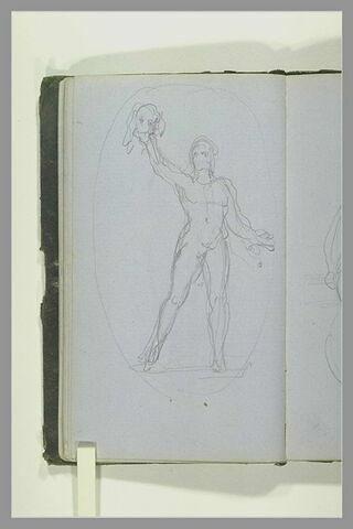 Figure nue portant quelque chose à bout de bras