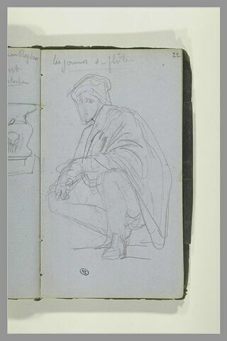 Figure accroupie ; note manuscrite
