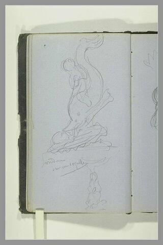 Sculpture avec un triton ; note manuscrite ; croquis