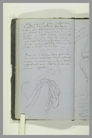 Notes manuscrites ; partie inférieur d'une draperie d'une figure assise