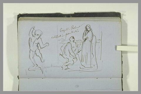 Figure dansante ; groupe de deux figures ; note manuscrite