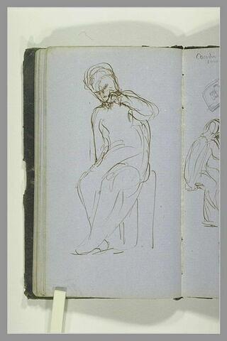 Une figure assise, un doigt sur la bouche