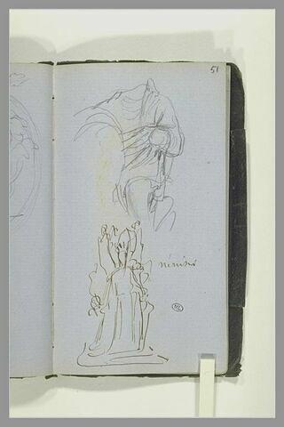 Draperie d'une figure, sans tête ; groupe sculpté