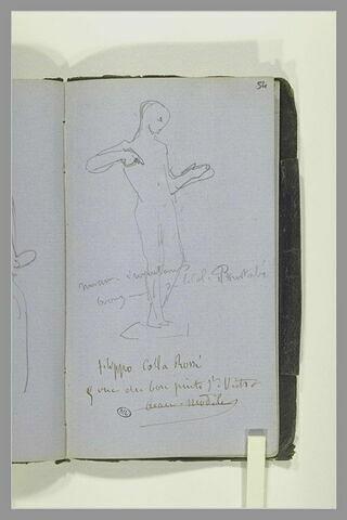 Figure debout ; notes manuscrites