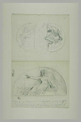 Trois croquis d'un projet pour un bas-relief inscrit dans un demi-cercle